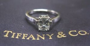 Tiffany & Co Platinum Emerald Cut Diamond Engagement Solitaire Ring .83Ct H-VVS2