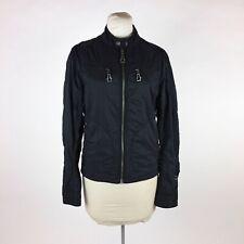 Monarchy Black Jacket Sz M Motorcycle Nylon Embroidered Full Zip
