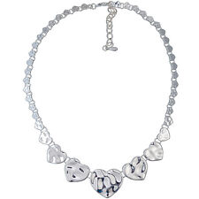 Graduated hammered polished finish heart charms silver colour choker necklace