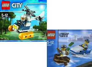 LEGO CITY SETS X 2 SWAMP POLICE HELICOPTER POLICE WATERCRAFT WITH 3 MINIFIGURES