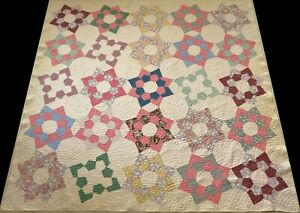 Antique Early 1900's Hand Stitched 6-7 spi Feed Sack Star Quilt 81x77