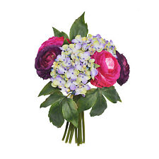 Artificial Ranunculus and Hydrangea Posy 26cm/10 Inches Cerise 9 Stems