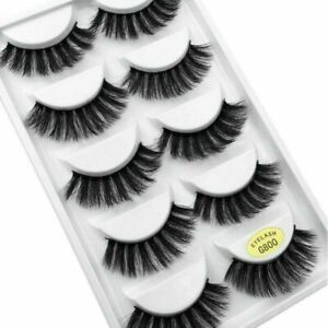 5Pair 3D Mink False Eyelashes Fluff Cross Long Thick Soft Fake Eyelashes Eyebrow