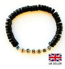 PERSONALISED BLACK WOODEN BIRTHDAY BRACELET BIRTHDAY, PARTY BAG, ANY NAME &COLOR
