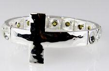 4030908 Brilliant Sparkling Rhinestone Cross Stretch Bracelet Christian Fashion