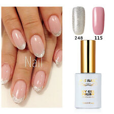 2 PIECES RS 115_248 Gel Nail Polish UV LED Sequined Varnish Silver Pink 15ml New
