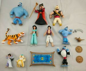 Lot of Aladdin Action Figure Bundle Disney Mattel 1992 Genie Magic Carpet Jafar