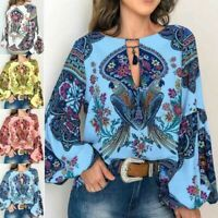 Bohemia Women Flower Print Tops Long Sleeve Casual T Shirt Ladies Retro Blouse