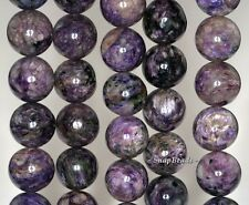 """15MM-16MM CHARA RIVER CHAROITE GEMSTONE A  PURPLE ROUND LOOSE BEADS 16"""""""