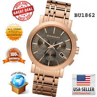 100% Authentic Brand New Burberry Men's Chronograph Rose Gold Watch BU1862
