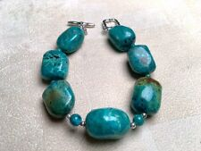 Barse Sterling Silver and Turquoise Chunk Toggle Bracelet