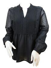 Branded Ladies Black Sheer Polyester V Neck Long Sleeve Smock Notch Blouse