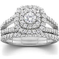 1 1/10ct Cushion Halo Solitaire Diamond Engagement Wedding Ring Set White Gold