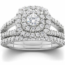 1 1/10 CT cojín Halo solitario diamante anillo de compromiso de boda de oro blanco conjunto