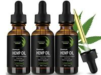 3 Pack Premium Organic Hemp Oil for Pain Relief,Anxiety,Reduce Stress 1000mg