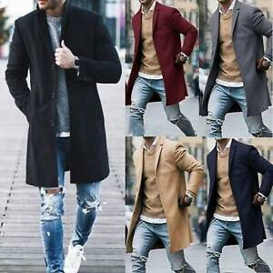Mens Wool Coat Winter Trench Coat Outwear Overcoat Long Sleeve Buttons Up Jacket