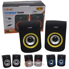 CASSE SPEAKER usb jack 3,5 3W notebook pc linq AN-009 BIANCO BLU GIALLO ROSSO