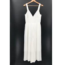 NEW VINCE pleated Jumpsuit White Wide Crop Leg Sleeveless Vneck Marilyn Monroe 8