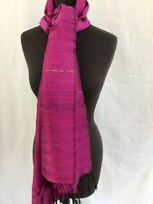 "Magenta  100% Silk Scarf shawl 72"" by 27"" Handmade  texture two ply silk New"