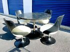 Vtg Mid Century Modern 5 Pc Smoked Acrylic Space Age Dining Table Chairs Set