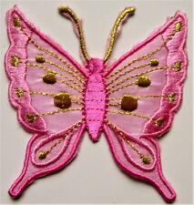 Applikationen zum Aufbügeln - Schmetterling - Rosa  Aufnäher Neu