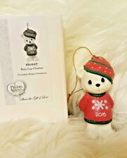 "Precious Moments 2016 Christmas Bear  ""Beary Cozy"" Ornament Porcelain New"