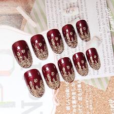 YuNail 24ps Wine Red Long False Nails Tips Ice-cream Full Cover Acrylic Nail Art