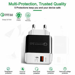 Charm Charge 3.0 USB 3A 5V Phone Wall Home Travel Adaptador de cargador rápido
