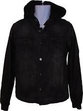 USED Mens Asylum Denim Style Leather Look Sleeve Jacket Size Medium (C.G)