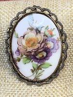 Vintage Milk Glass Cameo Pastel Rose Flower  Pendant  Gold Pin Brooch Pendant