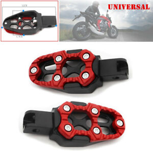 2PCS Off-road Motorcycle Foot Pedal Non-slip Backfoot FootPegs Red Belt Spring