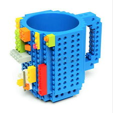 Build-on Brick MUG CUP Plastic water lego block kid toy DIY coffee tea home Gift