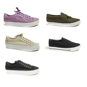Womens Canvas Shoes Ladies Wide Fit Trainers Casual Plimpsolls Lace Up Flat Pump