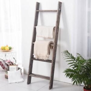 New 4.5 Ft Rustic Wood Ladder Blanket Towel Storage Ladder Quilt Rack Decorative
