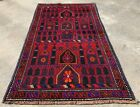 Authentic Hand Knotted Afghan Taimani Balouch Wool Area Rug 5 x 3 Ft (514 HMN)