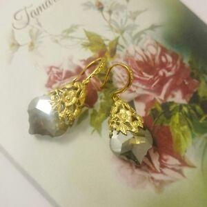Cocktail Edwardian Vintage style black Diamond  Baroque glass earrings