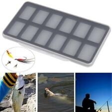 Fly Fishing Box 12 Magnetic Compartment Clear Slim Hook Storage Case Container