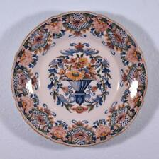 """*14"""" Vintage Delft Polychrome Charger Tin Glazed Faience Plate by Makkum"""