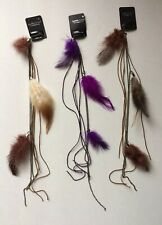 "Feather & Chain Hair Extension w/Clip On Comb 12 pcs 14"" Long Assorted Hippie"
