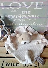 Doudou plat ours rayé beige marron clair blanc 4 noeuds Orchestra + cadeau