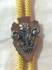 Bolo Tie Metal Crest Arrowhead & Plumes Slide VTG Necktie Lariat Yellow Cord