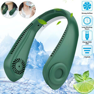 Portable Mini Fan Neckband Bladeless Neck Hanging Cooler USB Rechargeable