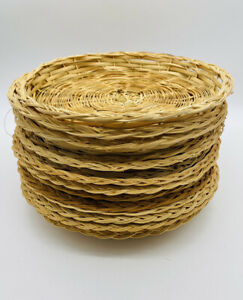 """15 Vintage Wicker Rattan Bamboo Paper Plate 9.5"""" Holders Picnic Party Camping"""