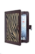 RARE iPAD 2, 3 & 4 BROWN COVER REAL LEATHER WITH ZEBRA SKIN FUR CASE STAND LUX