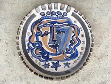 grand plat design decor visage stylisée 50/60 swiss pottery face