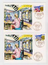 France 1992 - N° 2743 et 2744 - Deux cartes postales Journée du timbre 7 3 1992