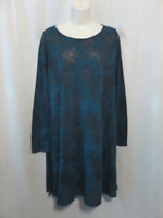 Chalet Sheer Knit Tunic Top Teal Blue Black Thin Knit S Small