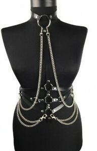 PU Leather chest Body chain harness BDSM bondage Partywear club Costume Cosplay