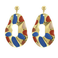 Fashion Color Collision Enamel Stud Earrings Drop Dangle Statement Jewelry Gi MW