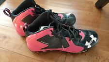 Men Size 13 Under Armour Clutch Fit Pink/Black Baseball Cleats